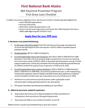 Thumbnail of First Draw PPP Checklist Document