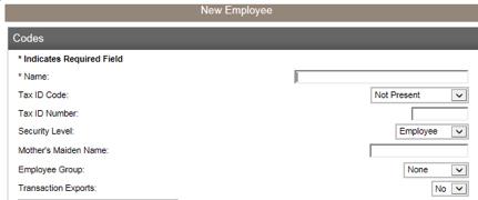 Screenshot of add-employee screen